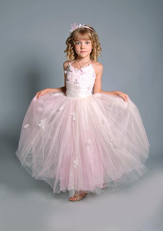 розовое фатиновое платье на прокат Киев