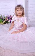 Бальное платье нежно-розовое фатин с кружевом; Артикул СМ136