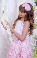 Бальное платье бело-розовое сборка; Артикул Б28