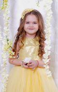 Бальное платье желтое фатин; Артикул Ф7