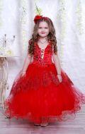 Бальное платье красное узор; Артикул СМ132