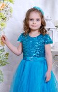 Бальное платье голубое фатин; Артикул Ф19
