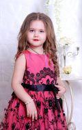 Бальное платье розовое в черный узор; Артикул СМ121