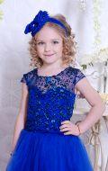 Бальное платье синее фатин блеск; Артикул СМ123