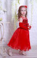 Бальное платье красное гофре; Артикул СМ77