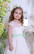 Бальное платье молочно-салатовое; Артикул СМ112