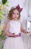Бальное платье молочное с фиолетовой лентой; Артикулы СМ26