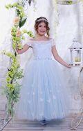 Бальное платье голубое фатин бабочки; Артикул СМ168