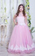 Бальное платье розово-белое фатин в узор; Артикул СМ 166