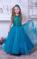 Бальное платье изумрудное фатин; Артикул Ф3