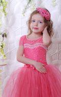 Бальное платье коралловое фатин; Артикул СМ150