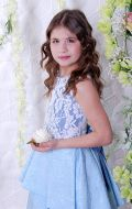 Бальное платье голубое жатка; Артикул Б61