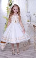Бальное платье молочное золотистые цветы; Артикул М30