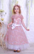 Бальное платье бежево-белое в узор; Артикул СМ151