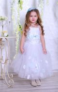 Бальное платье бело-голубое; Артикул СМ62