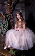 Бальное платье бежево-золотое; Артикул СМ172