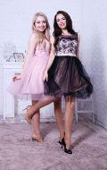Коктейльные платья нежно-розовое и черно-бежевое NEW; Артикулы Бк15 и Бк16