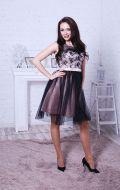 Коктейльное платье черно-бежевое NEW; Артикул Бк15