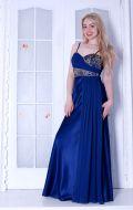 Выпускное платье синее атлас NEW; Артикул Кв18