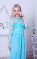 Выпускное платье бирюзовое с рукавами NEW; Артикул Кв65