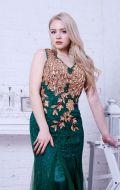 Вечернее платье зеленое расшитое золотом NEW; Артикул Кв55