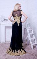 Вечернее платье черное с золотой вышивкой NEW; Артикул Кв60