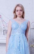 Выпускное платье голубое расшитое NEW