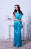 Вечернее платье бирюзовое блеск; Артикул Кв4