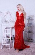 Вечернее платье красное в паетках NEW; Артикул Кв61