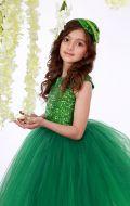 Платье бальное фатин паетки зеленное;Артикул Ф33