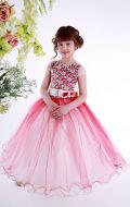 Платье бальное бело-бордовое с жемчугом Артикул СМ178