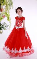 Платье бальное красно-белый гипюр; Артикул См165