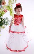 Платье бальное бело-красный гипюр Артикул СМ177