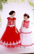 Платья бальные бело-красный гипюр (Артикул СМ177);красно-белый гипюр (Артикул СМ165)