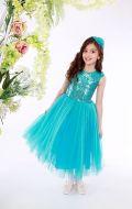 Платье бальное фатин паетки бирюза;Артикул Ф5