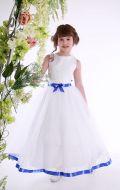 Платье бальное белое фатин синяя лента;Артикул СМ 182