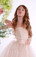 Платье бальное кремовое жемчуг лиф;Артикул СМ162
