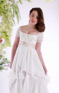 Платье бальное бежевое гипюр ампир;Артикул Б 64