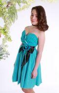 Платье бальное мятно-черный бант;Артикул Б75