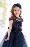 Бальное платье темно- синее фатин узор; Артикул СМ11