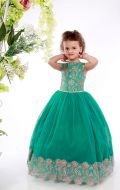 Платье бальное зелено-золот.фатин узор;Артикул СМ159