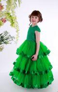 Платье бальное зеленое гипюр;Артикул СМ 148