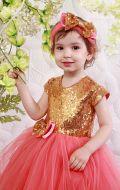 Платье бальное золотисто-фрез. в паетки;Артикул М 73