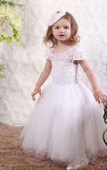 Платье бальное белое с жемчугом;Артикул С 80