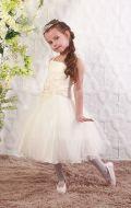 Платье бальное бежевый фатин ;Артикул М42
