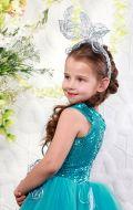 Платье бальное бирюза паетки;Артикул Ф5