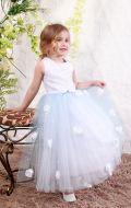 Платье бальное бело-голубой фатин;Артикул М81