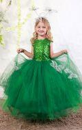 Платье бальное зеленое фатин паетки;Артикул Ф33
