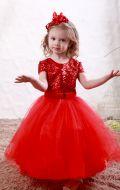Платье бальное красное фатин паетки;Артикул Ф21