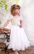 Платье бальное бело-бежевый гипюр;Артикул СМ139